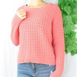 Sweaters - Coral Colored Knitted Sweater Cozy Warm Crew Neck
